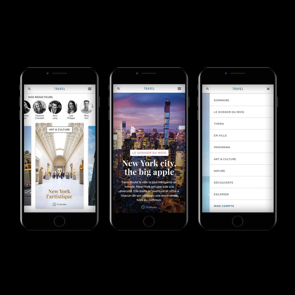 Application Travel présentation homepage